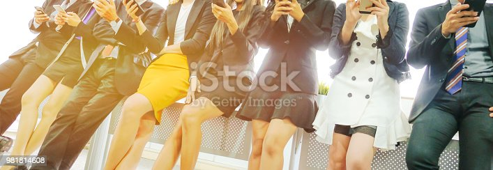 863497390 istock photo Business people using digital devices smart phone conection to social network 981814608