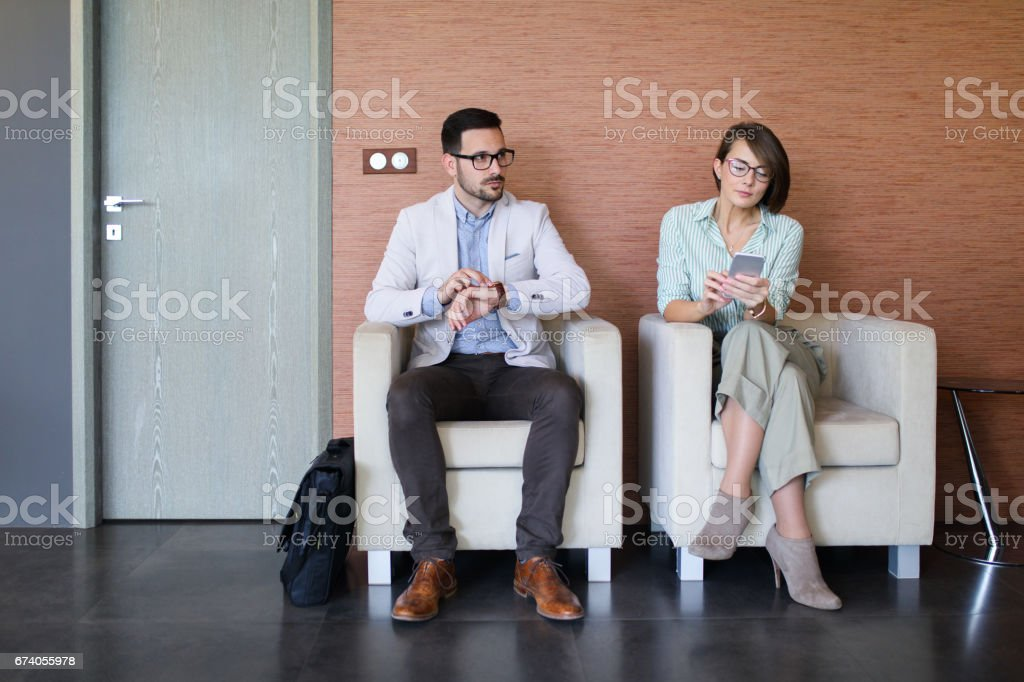 Business people waiting for a job interview royalty-free stock photo