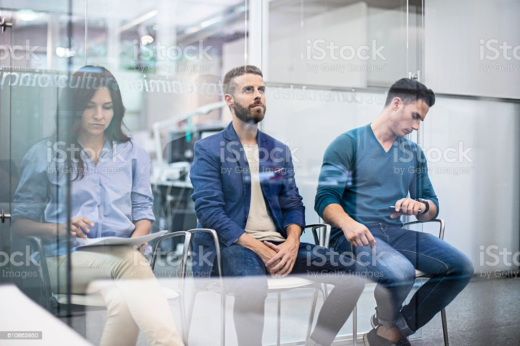 Business people waiting for an interview job stock photo