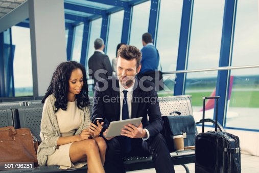 istock Business people waiting for flight 501796281