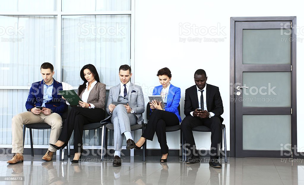 Business people waiting for job interview stock photo