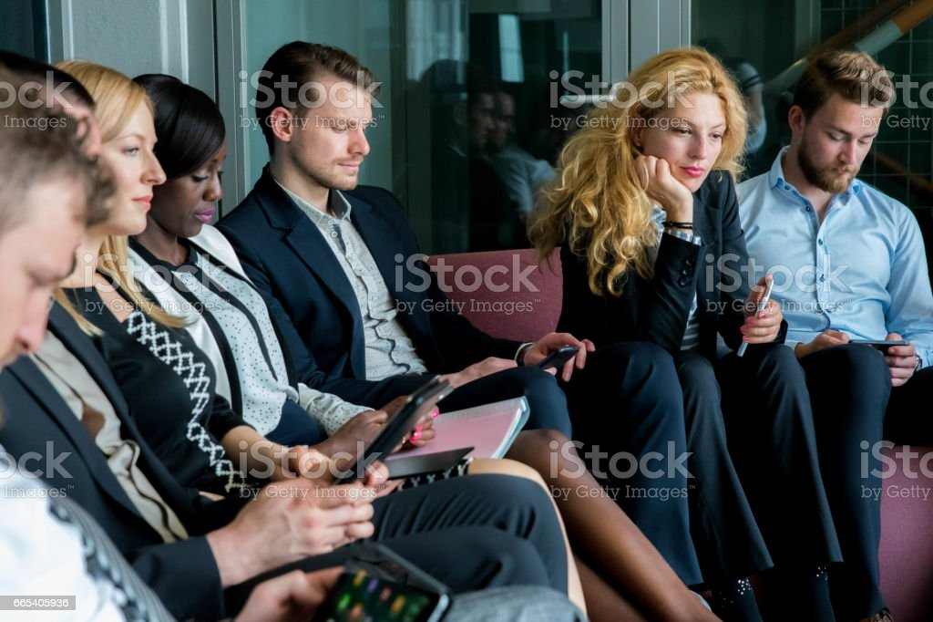 Business people waiting for results of interview stock photo