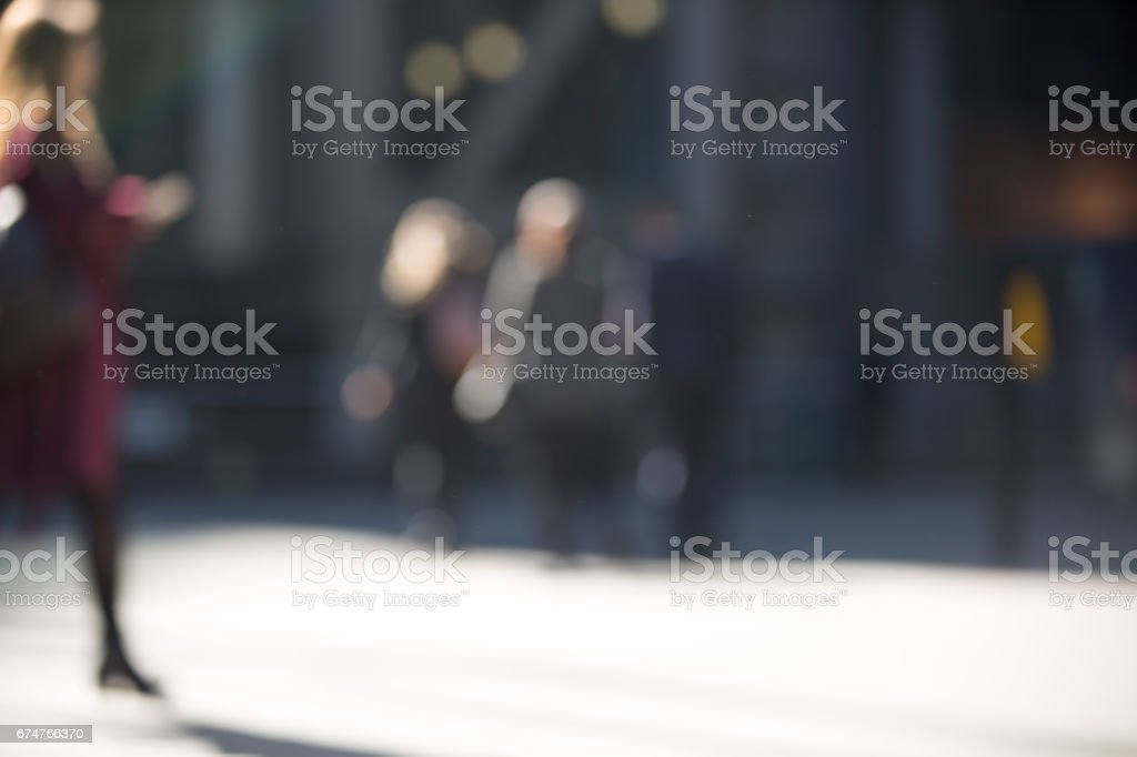 Business people walk blurred image for background. London, UK stock photo