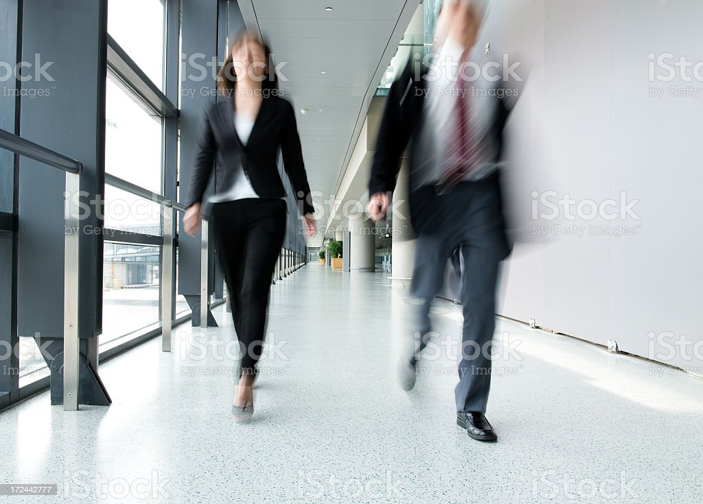 Business people walking at the hallway  stock photo