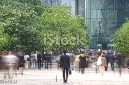 istock Business people walking in a financial district, blurred motion 157511887