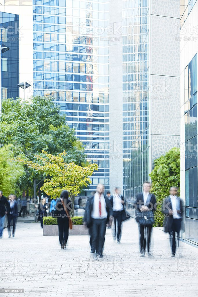 Business people walking in a  financial district, Paris, France royalty-free stock photo
