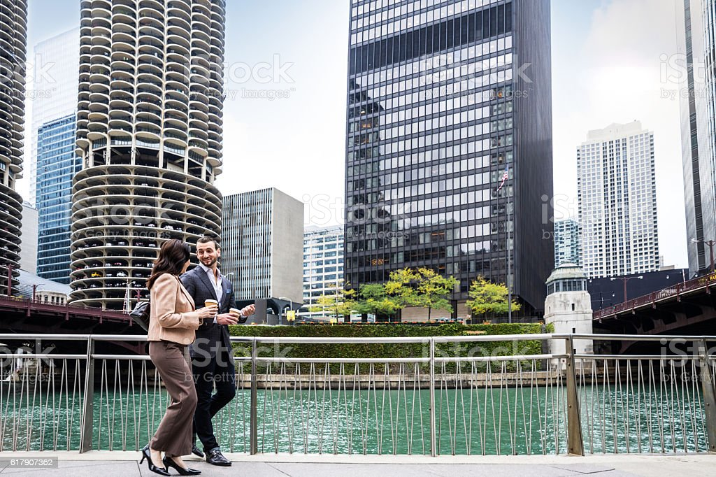 Business people walking in Downtown Chicago stock photo
