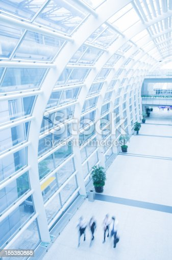 istock Business People Walking in Modern Airport Building 155380868