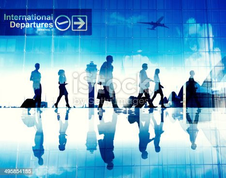 istock Business People Walking in the Airport 495854185
