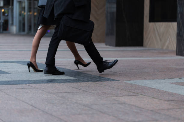 Business people walking on the street stock photo