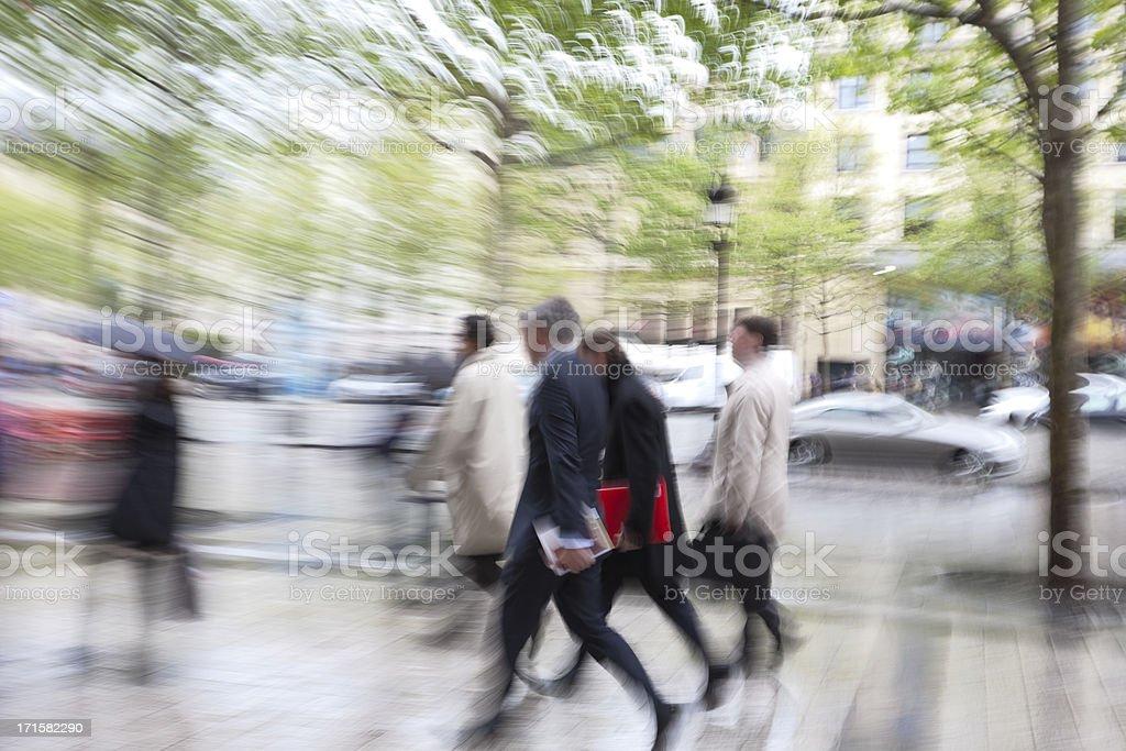 Business People Walking Street in Rain, Blurred Motion, Paris, France stock photo