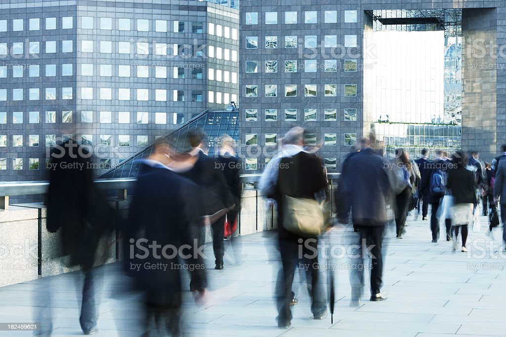 Business People Walking to Work in the Morning, Blurred Motion royalty-free stock photo