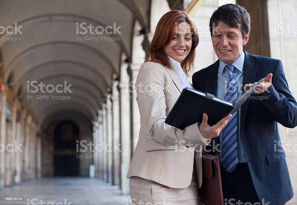 Business people walking together and working royalty-free stock photo