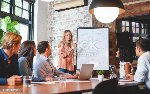 576902490 istock photo Business people watching a presentation on the whiteboard. 1131902851