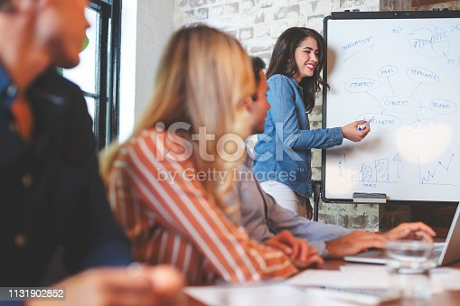 istock Business people watching a presentation on the whiteboard. 1131902852