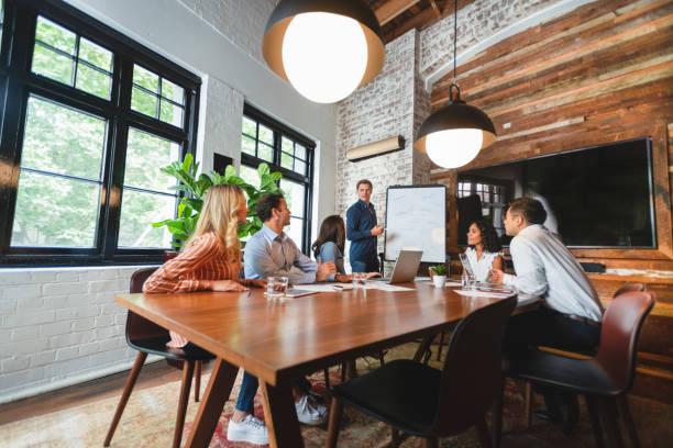Geschäftsleute beobachten eine Präsentation auf dem Whiteboard – Foto