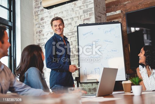 istock Business people watching a presentation on the whiteboard. 1132357328