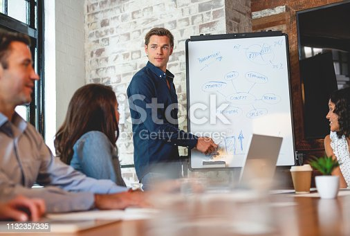 istock Business people watching a presentation on the whiteboard. 1132357335