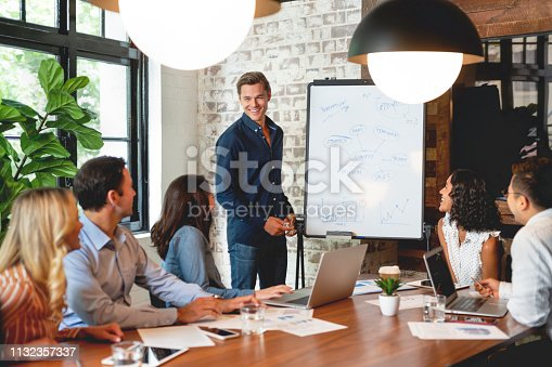 istock Business people watching a presentation on the whiteboard. 1132357337