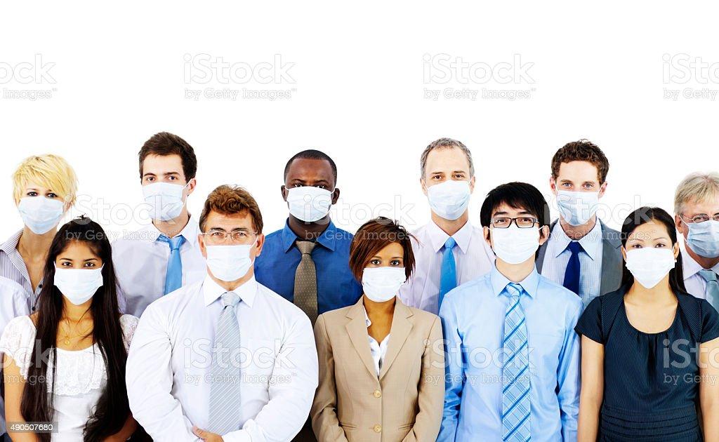 Uomini d'affari indossando maschera medico concetto - foto stock