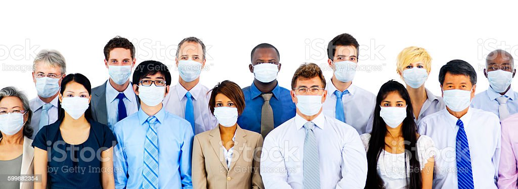 Business People Wearing Medical Mask Concept stock photo