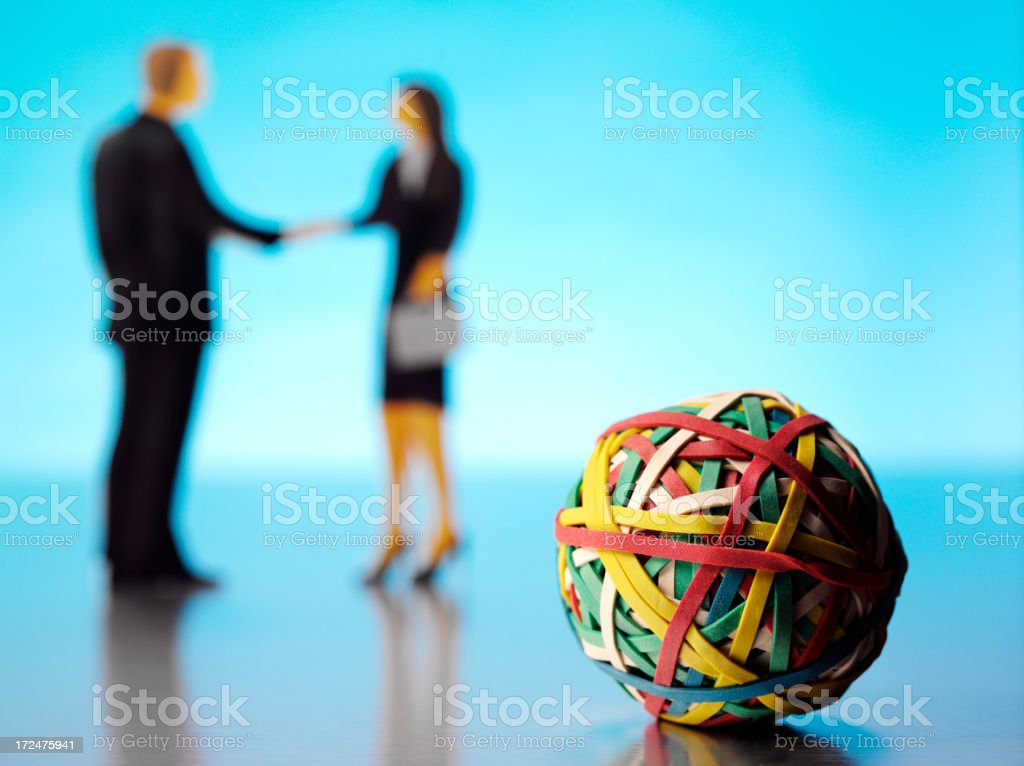 Business People with a Elastic Band Ball royalty-free stock photo