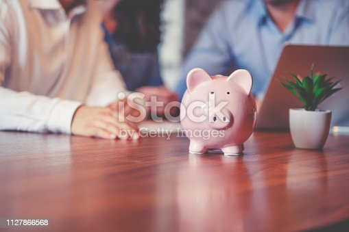Business people with a piggy bank. There are three business people of different ethnic groups. All are happy and smiling. All are dressed in business casual clothing.
