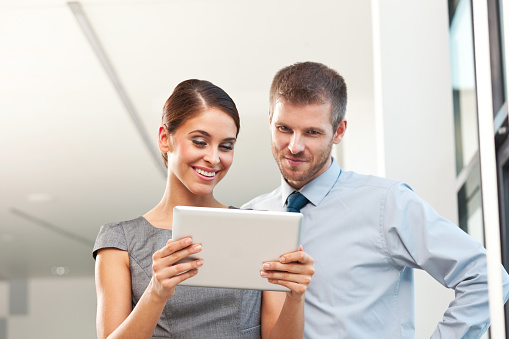 Business People With Digital Tablet Stock Photo - Download Image Now