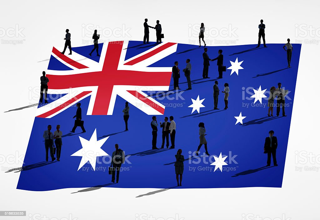 Business People with Flag of Australia stock photo