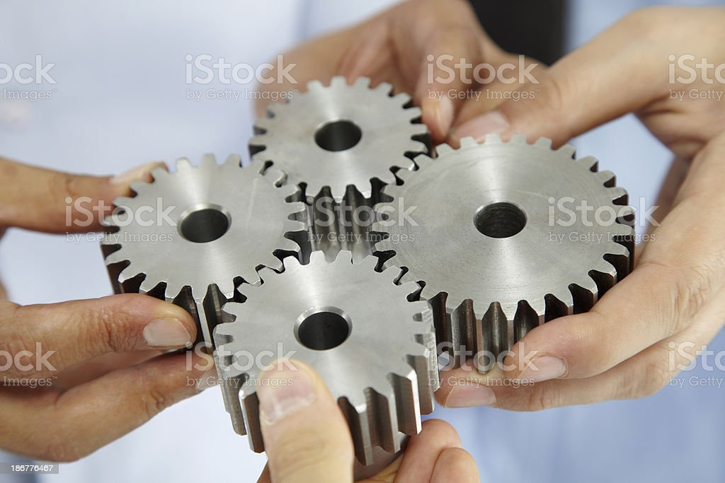 Business People With Gears royalty-free stock photo