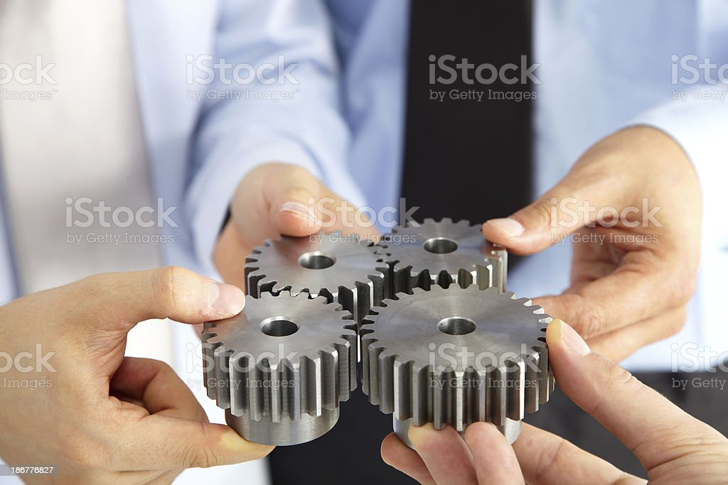 Business People With Gears stock photo
