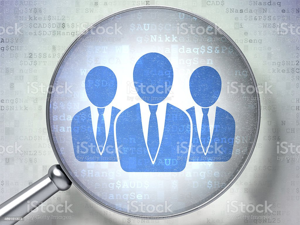 Business People with optical glass on digital background stock photo