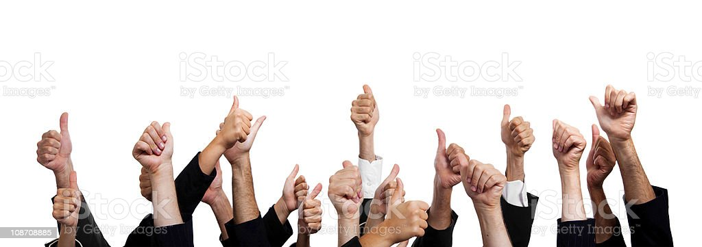 Business People with Thumbs Up on White Background. stock photo