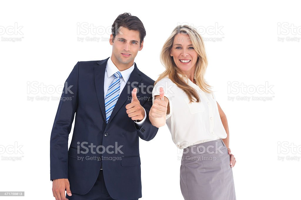 Business people with thumbs up royalty-free stock photo