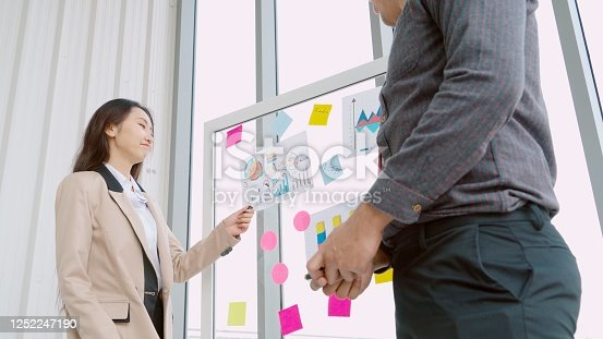 1059655118 istock photo Business people work on project planning board 1252247190