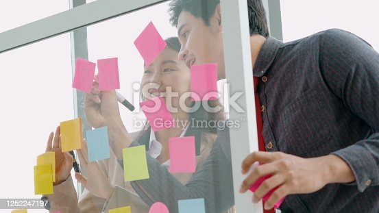 1059655118 istock photo Business people work on project planning board 1252247197