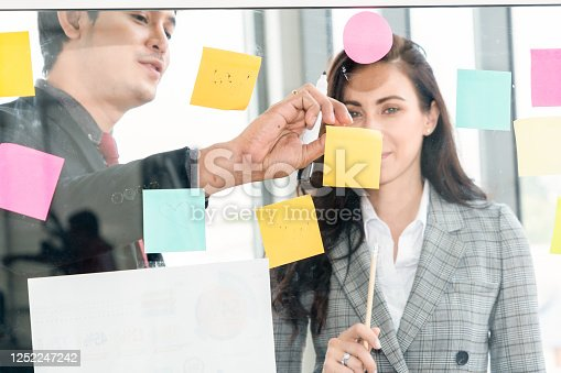 1059655118 istock photo Business people work on project planning board 1252247242