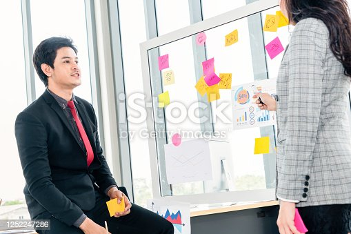 1059655118 istock photo Business people work on project planning board 1252247286