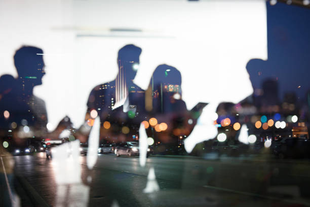 Business people work together in office. Concept of teamwork and partnership. double exposure - foto stock