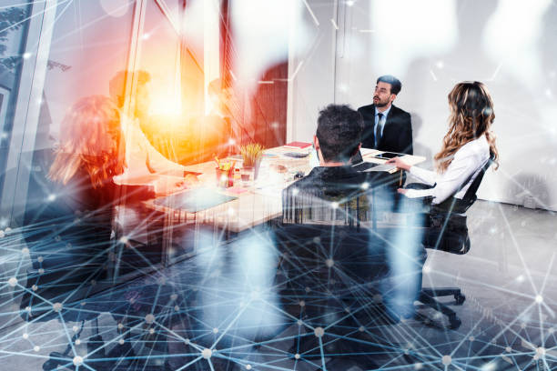 Business people work together in office with internet network effects. Concept of teamwork and partnership. double exposure - foto stock