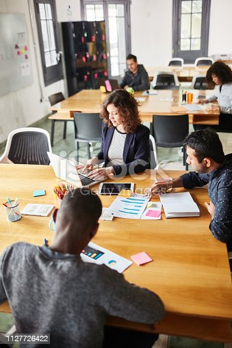 1124783373 istock photo Business people working at a startup office 1127726422