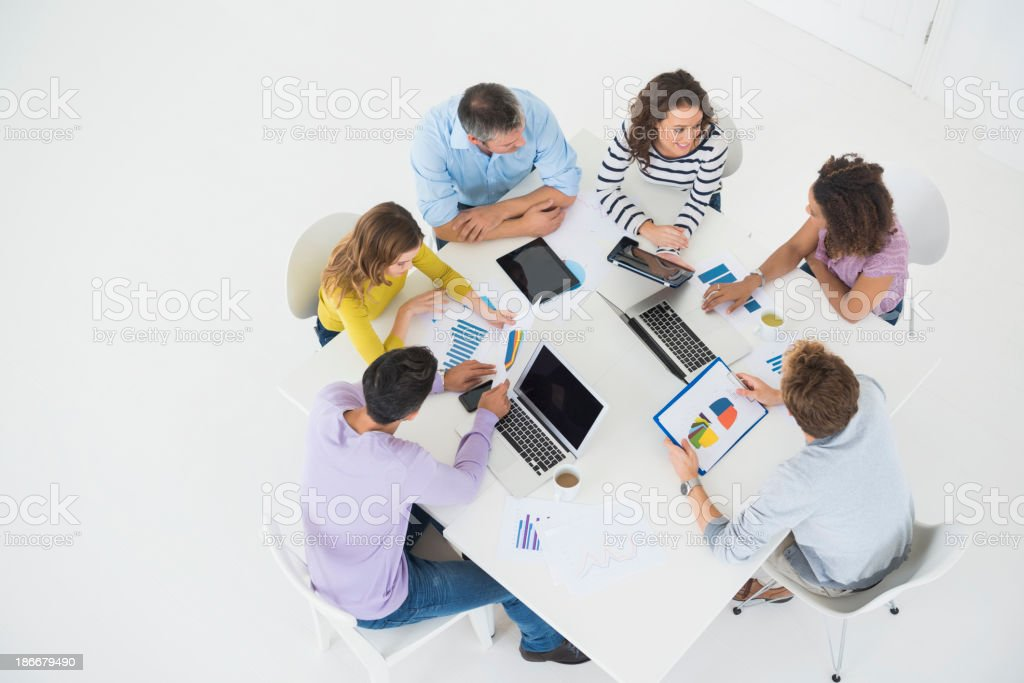 Business People Working At Conference Table royalty-free stock photo