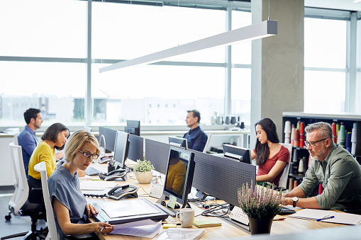 Business people working at desk. Male and female professionals are sitting by windows. Colleagues are sitting in textile industry.