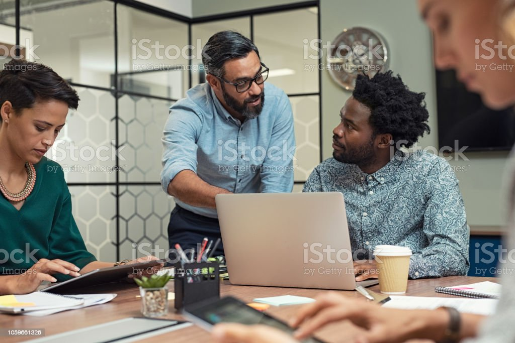 Business people working in a meeting room royalty-free stock photo