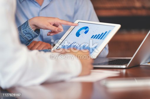1127866562 istock photo Business people working on financial data on a digital tablet. 1127625157