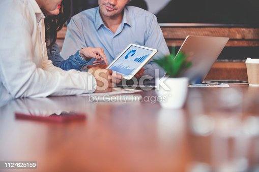 1127866562 istock photo Business people working on financial data on a digital tablet. 1127625159