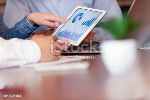 1127866562 istock photo Business people working on financial data on a digital tablet. 1127625160