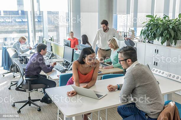 Business People Working On Laptop In Modern Office Stock Photo - Download Image Now