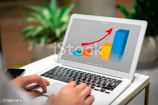 801895196 istock photo Business people working with business growth graph on laptop. 1170311813