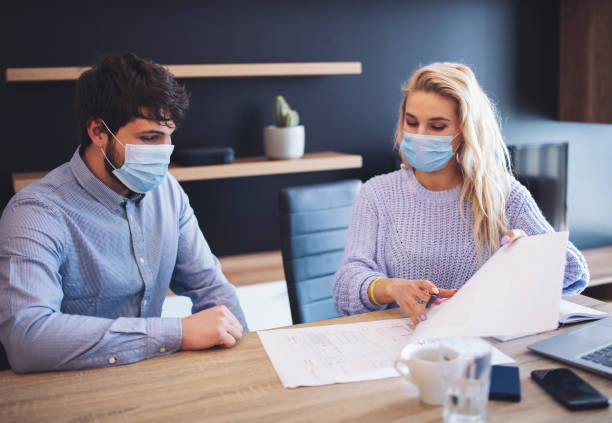 business people working with face mask. - businessman covid mask foto e immagini stock